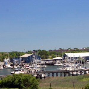 This image shows the beautiful cruiser's view of TGM Anchor Point Marina, featuring the scenery where you can have a short walk out your front door from your boat.